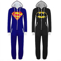 Anime Bruce Wayne cosplay Apparel Halloween Superman Male and female common clothing Piece pajamas zipper Jumpsuits