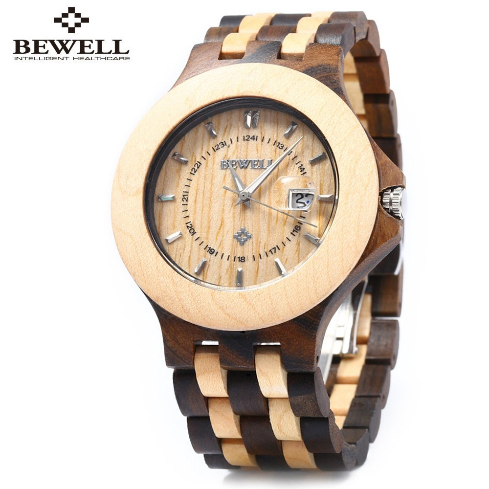 Bewell Luxury Mens Dress Watches Japan 2115 Quartz Movement Natural Wood Watch Wooden Watch Luminous Wristwatch Dial Watches hand made natural wood mens quartz watch wooden watchband bracelet clasp simple design dial high quality male watches gift
