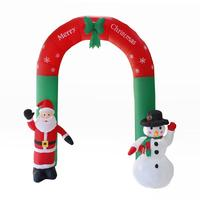 240cm Giant Santa Claus Snowman Inflatable Arch Garden Yard Archway LED Light with Pump Christmas Halloween Props Party Blow Up