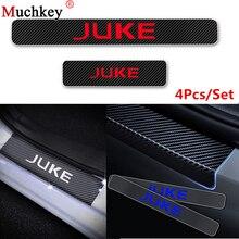 Автомобильные аксессуары для Nissan JUKE углеродного волокна винил Стикеры дизайн автомобиля порога порог пластина дверь шаг пластины стайлинга автомобилей 4 шт.