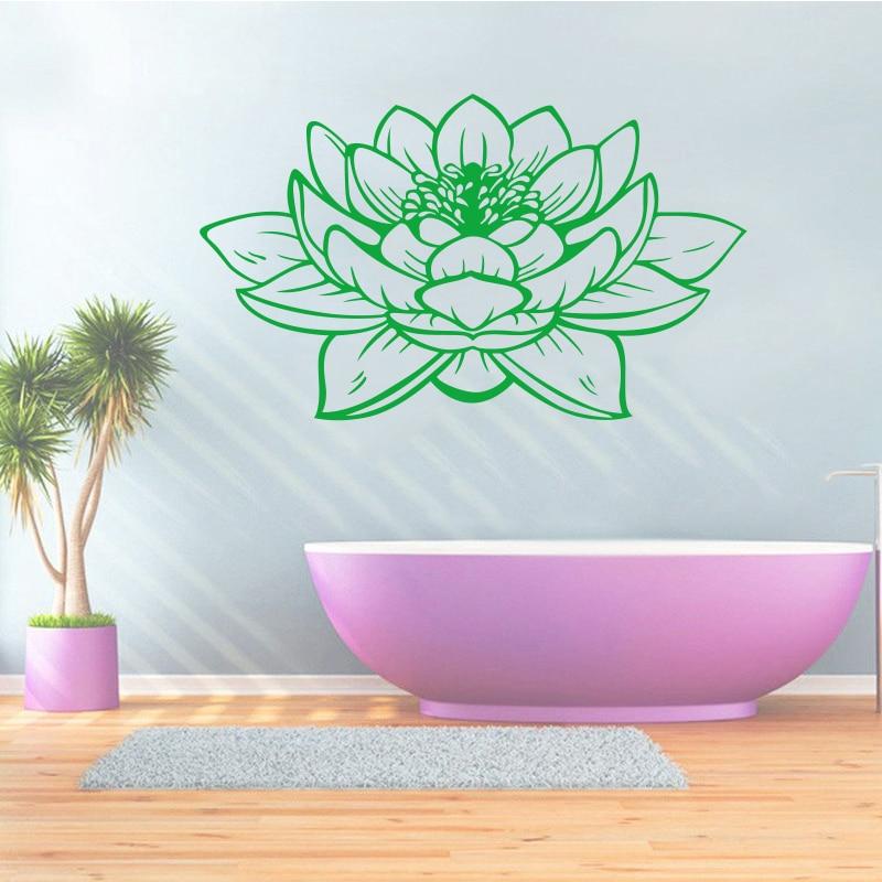 Samolepky Lotus Flower Vinyl Nástěnné Nálepky Vyměnitelné umění Tapeta na Plochu Obývací Pokoj Nástěnná Nálepka Freska Dům Dekorace DW0087
