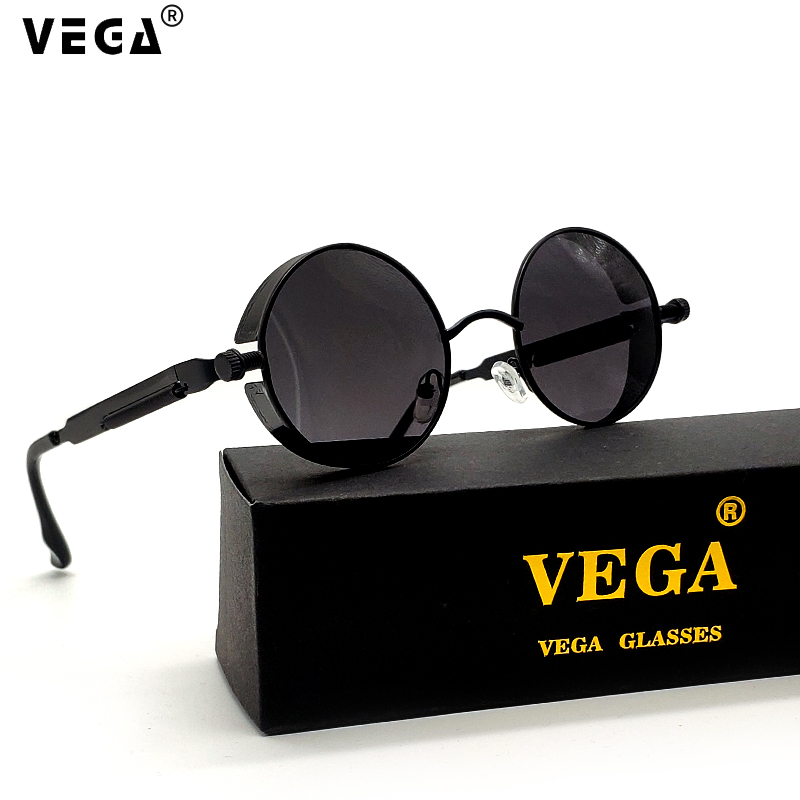ce2d9e1bb48c VEGA Polarized Steampunk Sunglasses Men Women Round Gothic Steam Punk  Goggle Metal Vintage HD Vision Sunglass ...