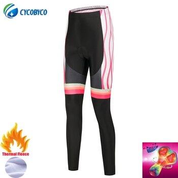 Cycobyco-Pantalones largos acolchados 4D para Ciclismo, mallas para bicicleta de montaña, Invierno