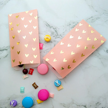 25pcs Wedding Favor Bag Bridal Shower Birthday Paper Bags For Gifts Pink and Gold Foil Heart dessert package