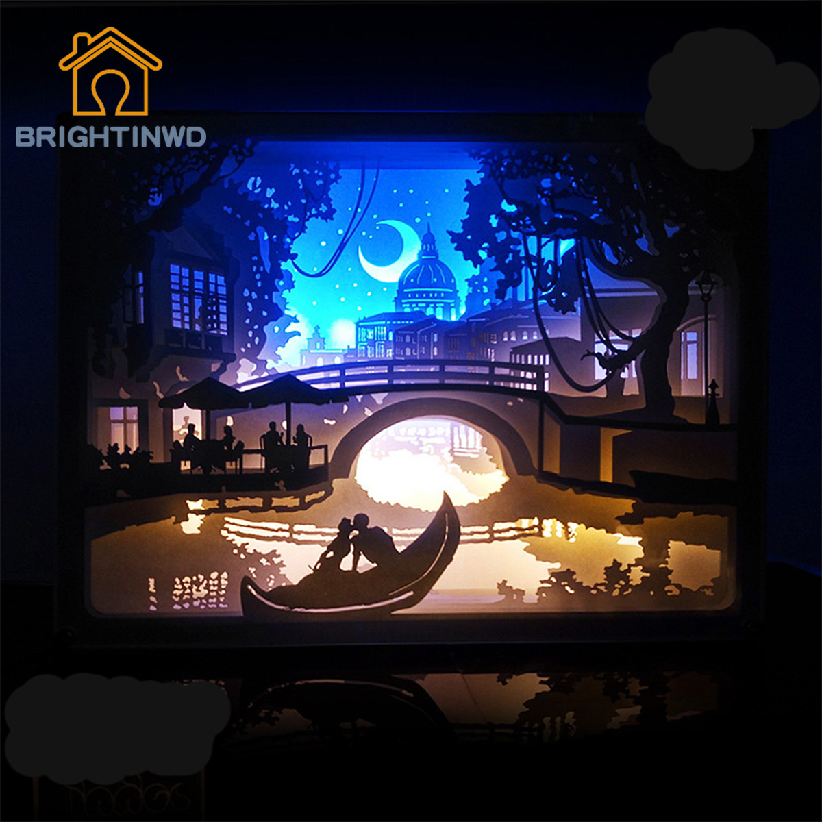 BRIGHTINWD Light Shadow Paper Lanterns Love Venice Bedside Decorative Lamp Night Light Gifts USB Power Supply