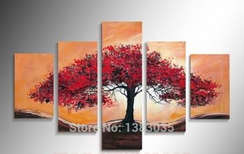 Hand Painted Abstract Tree Art Oil Paintings 5 Piece Wall Art Canvas Huge Modern Oil Picture Set Home Decoration For Living Room