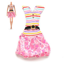 1Pc Printed Tutu Skirt Dresses for Dolls Rainbow Color Striped Doll Dress Clothes Accessories(China)