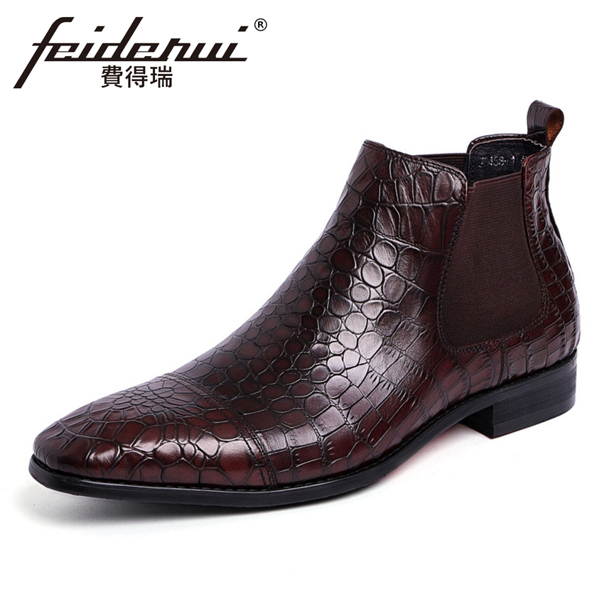 Luxury Genuine Leather Men's Alligator Martin Chelsea Ankle Boots Pointed Toe Handmade Cowboy Riding Man High-Top Shoes YMX481 new arrival luxury genuine leather men s handmade ankle boots round toe lace up alligator cowboy riding shoes for man hms84