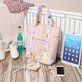 Free Shipping ( 2 pieces of 1 set ) Cotton Shopping Bags Pink with flowers Women Handbags Shoulder Bags Shopping Bag SGJM078