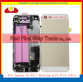 For IPhone 5S Metal Chassis Middle Frame Back Cover Battery Door Body Full Housing Assembly Flex Cables Gold Silver Gray Rose