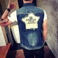 2016 nueva marca de moda chaleco de mezclilla hombres vintage ripped washed jeans chaleco sin mangas hombre vaquero chaqueta volver palabras estrella