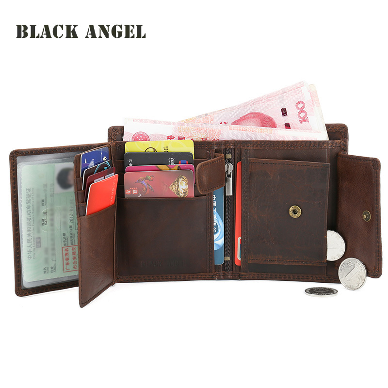 BLACK ANGEL Vintage Genuine Leather Men Wallets Cowhide Trifold Zipper  Wallet Short Vertical Design Purse Card Holder