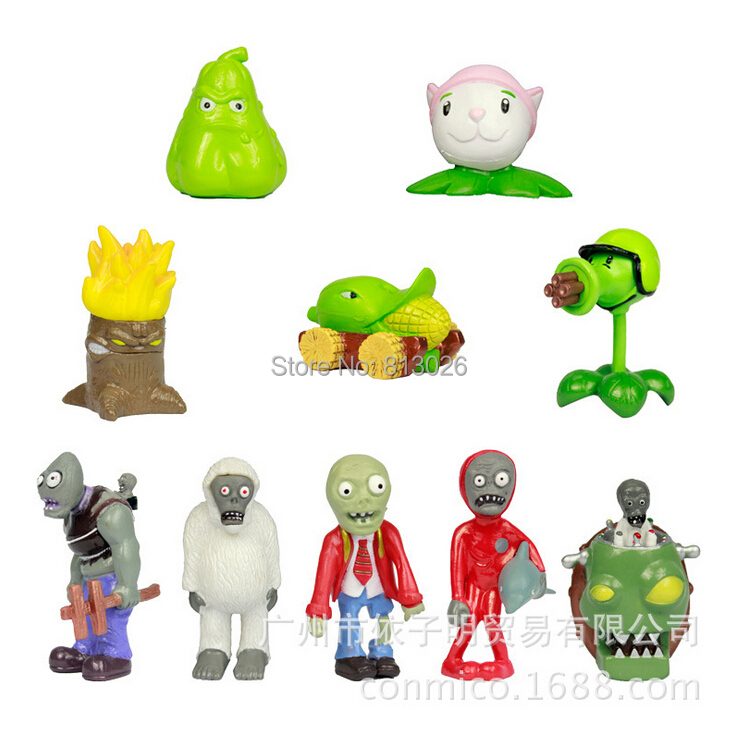 10pcs/set Plants vs Zombies Flower PVZ Classical PVC brinquedos Collection Figures toys AnnO00407A