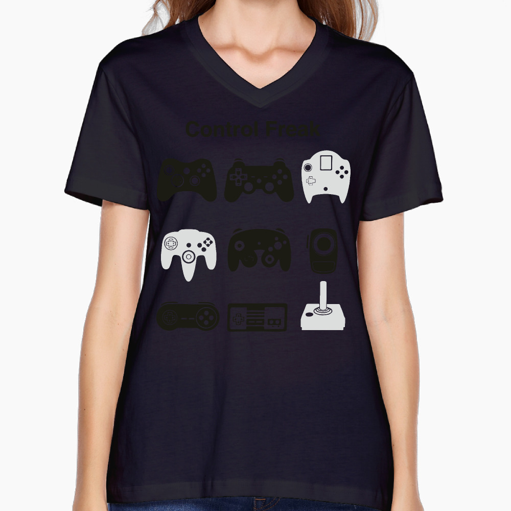 Design t shirt games online - 2017 Control Freak Video Game Printed Women V Neck T Shirt Fashion Style Design Fitness