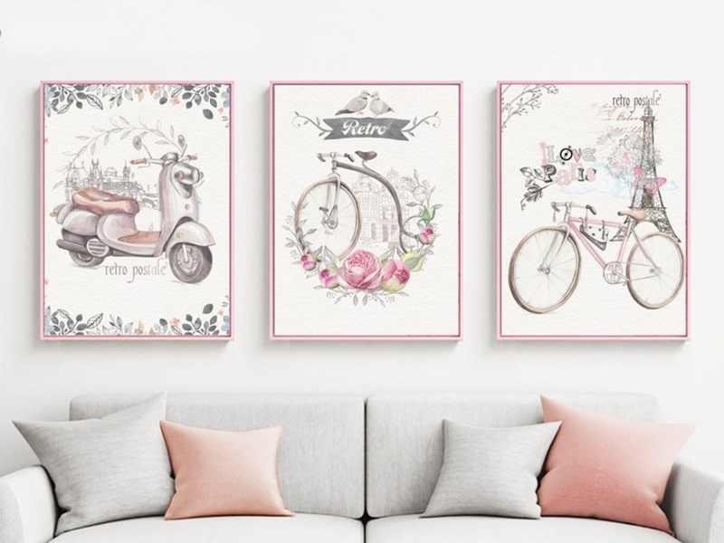 ALMUDENA 3 Panel Mädchen kinderzimmer Rosa Dekorative Gemälde gedruckt Romantische Paris Stadt Fahrrad Leinwand Bild mit Keine Rahmen Wand kunst