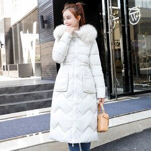 Image 2 - Chaqueta de invierno para mujer, abrigo largo con capucha de piel, Parka cálida acolchada de algodón, ambos lados, 2019