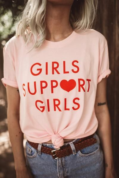 Girls Support Girls Red Letter Print Tee Pink Grey White