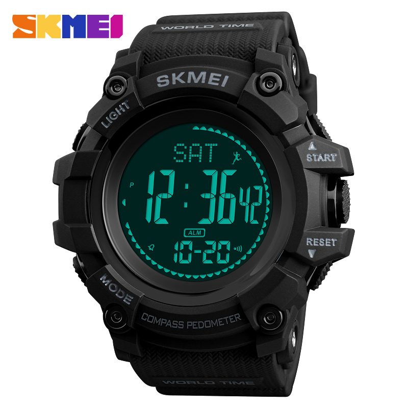 SKMEI Men Outdoor Sports Watch Pedometer Waterproof Sports Countdown Calorie Watch World Time 12/24 Hours Relogio Masculino