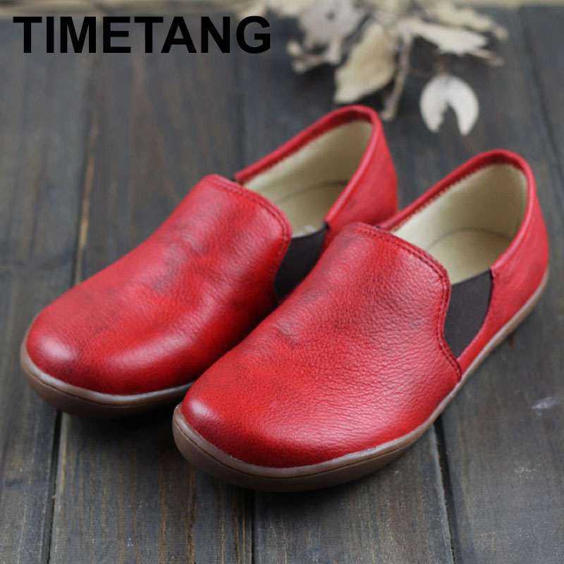 TIMETANG  Ballerinas Women Barefoot Flat Shoes Women Genuine Leather Slip On Female Shoes Flat Soles Plus Size IMTER Shoes E524