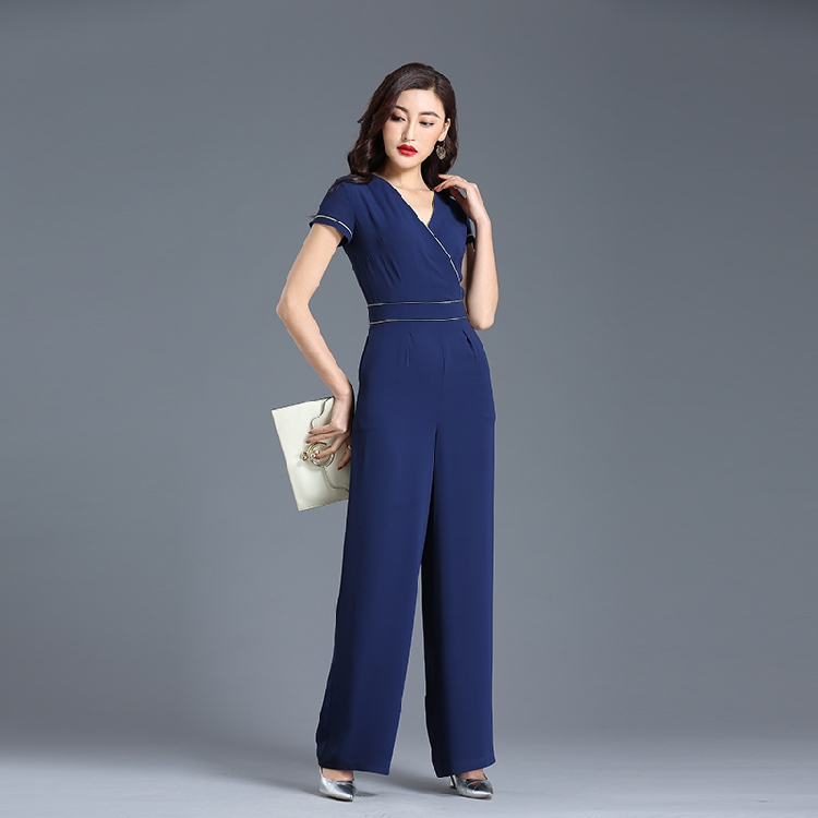 Plus Size Jumpsuit for Women 2019 Summer Chiffon High Street Elegant Full Length Wide Leg Rompers Size S M L XL 2XL 3XL 4XL