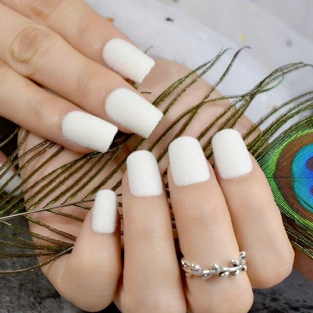 Pure White Velvet Flocking Acrylic Nail Art Easy Diy Medium Fake