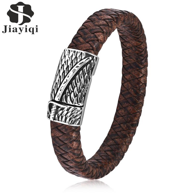 Jiayiqi Punk Men Jewelry Brown Braided Leather Bracelet Stainless Steel Magnetic Clasp Fashion Bangles 18.5cm jiayiqi fashion multilayer genuine leather bracelet for men jewelry stainless steel bangle punk braid black brown chain magnetic
