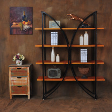 The new American creative rural children living room bookshelf locker combination, wrought iron wood kitchen shelving