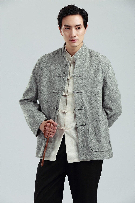 Shanghai Story hommes chinois tunique costume Top hommes col montant veste zhongshan costume mélange laine chinois traditionnel Top 3 couleur
