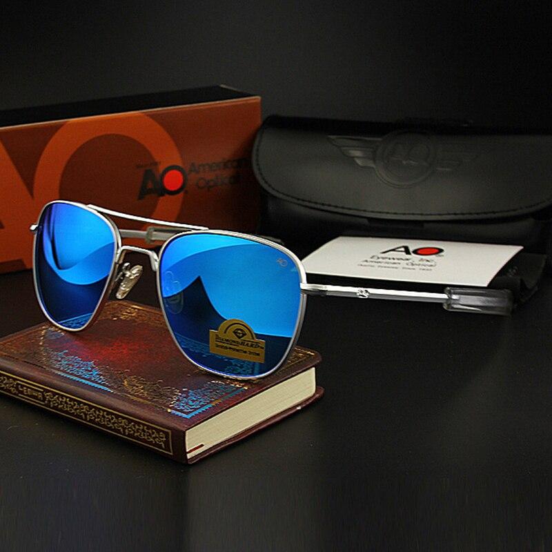 Piloto óculos de sol dos homens de alta qualidade marca designer ao espelho óculos para masculino exército americano militar lente vidro óptico tj111