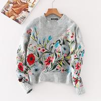 2017Autumn Winter Women Chic Floral Embroidery Knitted Sweater Ladies Cloose O Neck Long Sleeve Loose Casual