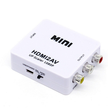 Mini Composite 1080P HUB to RCA Audio Video AV CVBS Adapter Converter Box Support 1080P For HDTV TV PC PS3 VCR DVD PAL