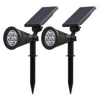 Newly 2 Pcs Solar Spotlights 4 LED Landscape Solar Lights Outdoor Waterproof Garden Lawn Lamp XSD88