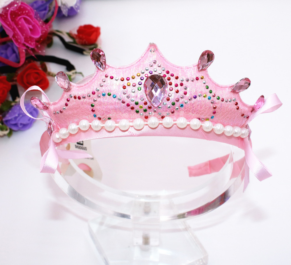 Children Baby Diamante Pearl Crown Hairband Tiaras Hoop For Hair Clasp Girls Birthday Head Bands Accessories
