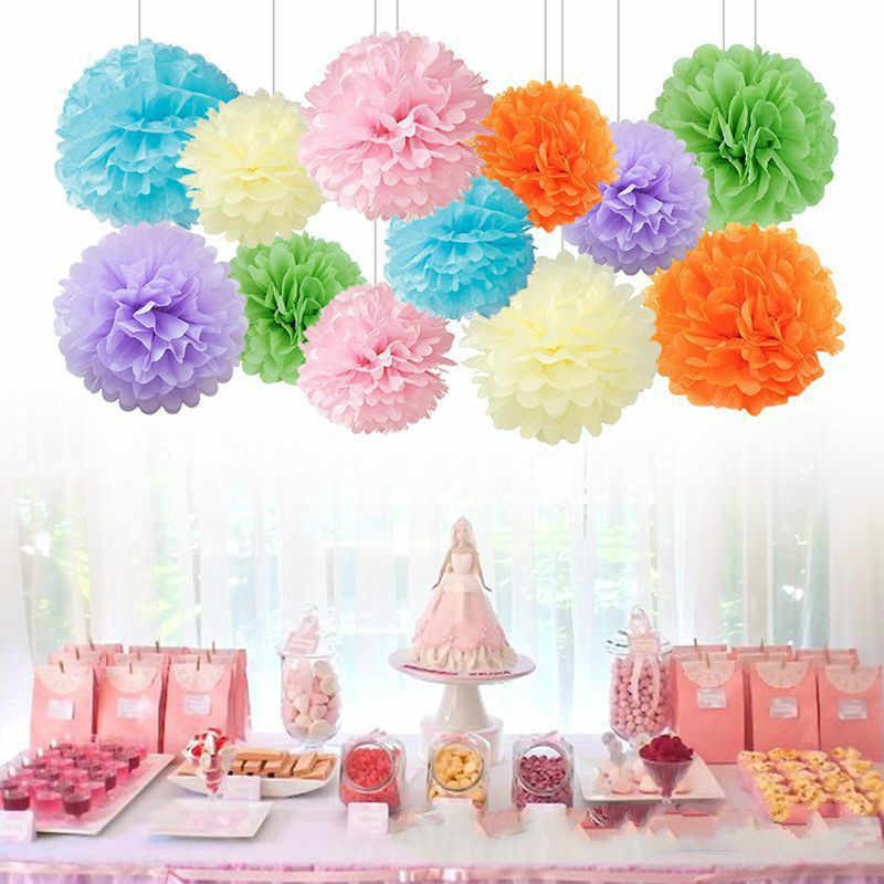 1 PCS 4/6/8/10/12 polegada Papel Tissue Pom Poms Decoração Flores de Papel Ofício bolas de flores Para O Casamento Casa Decorações de Aniversário