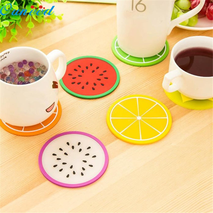 placemat kitchen accessories Ouneed Fruit Coaster Colorful Silicone Cup Drinks Holder Mat Tableware Placemat sep924