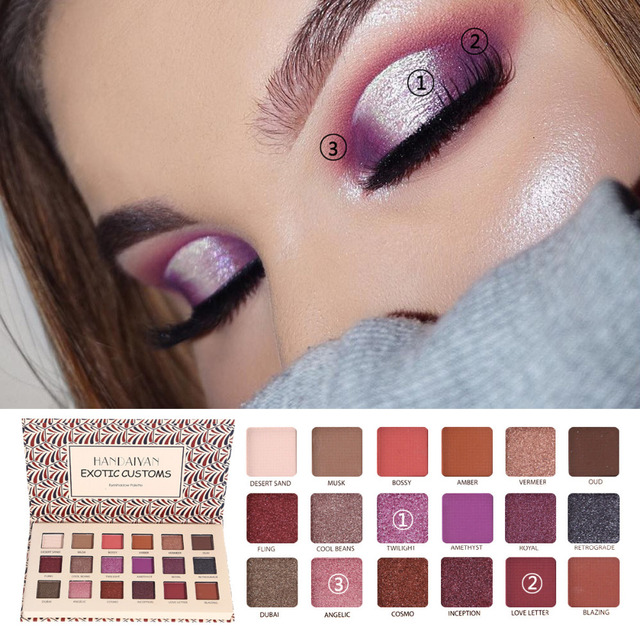 Handaiyan Long-lasting Eye Shadow Easy To Wear Eyeshadow Natural Matte Shimmer Natural Beauty Makeup Glazed Palette 18 Colors