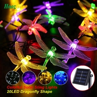 HoozGee Solar String Fairy Lights Outdoor 20 LED Multicolor Dragonfly Shape Garden Patio Decor Dream Energy