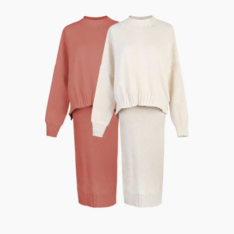 Winter Knitted Sweater Two Piece Set Women's Suit 2019 Solid Warm Pullovers Sweater and Split Midi Skirt Casual Women's Set