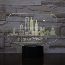 Usb 3d Led Night Light City New York Atmosphere Lamp Decoration RGB Kids Baby Gift Famous Buildings Table Lamp Bedside neon india taj mahal usb 3d led night light veilleuse lamp decoration rgb kids baby gift famous buildings table lamp bedside neon