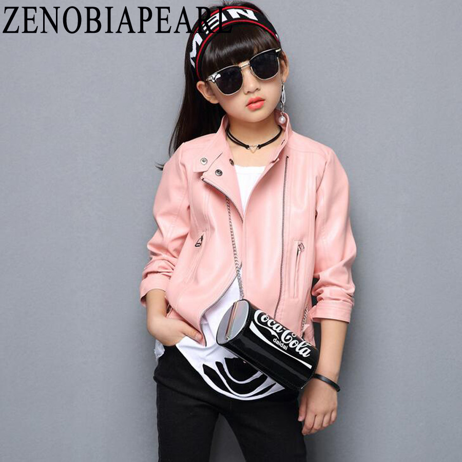 987674620f99 Kids Jacket PU Leather Girls Jackets Clothes Children Outwear Spring ...
