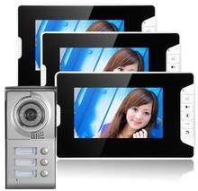 Yobang Security 3 Units Apartment Video Door Phone Intercom System Video doorbell Kit for 3 Apartments house video Intercom