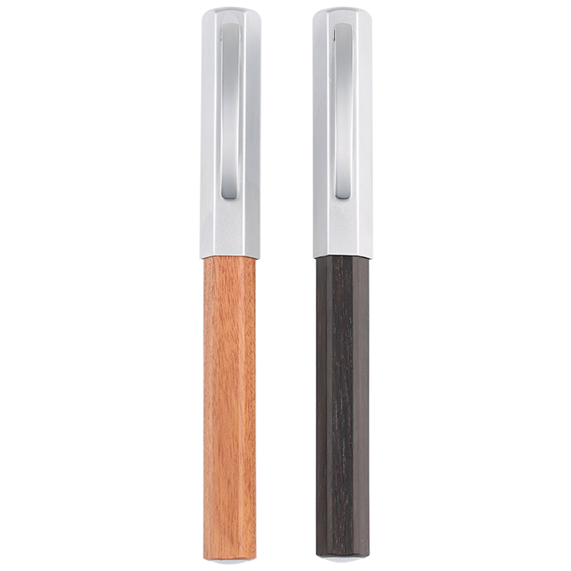 Hexagonal Rosewood Fountain Pen Extra Fine Small Bent Nib Silver Cap Ink Pens with a Pen Case The Best Gift Choice for Friend
