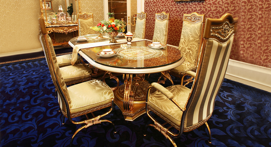 High Quality Luxury European Style Woodcarving Oval Dining Table In