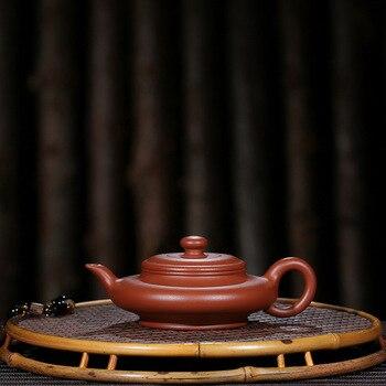 Yixing 보라색 점토 냄비 정품 예술가 손으로 만든 원시 미네랄 zhumu 플랫 냄비 shihu 쿵후 주전자 차 세트