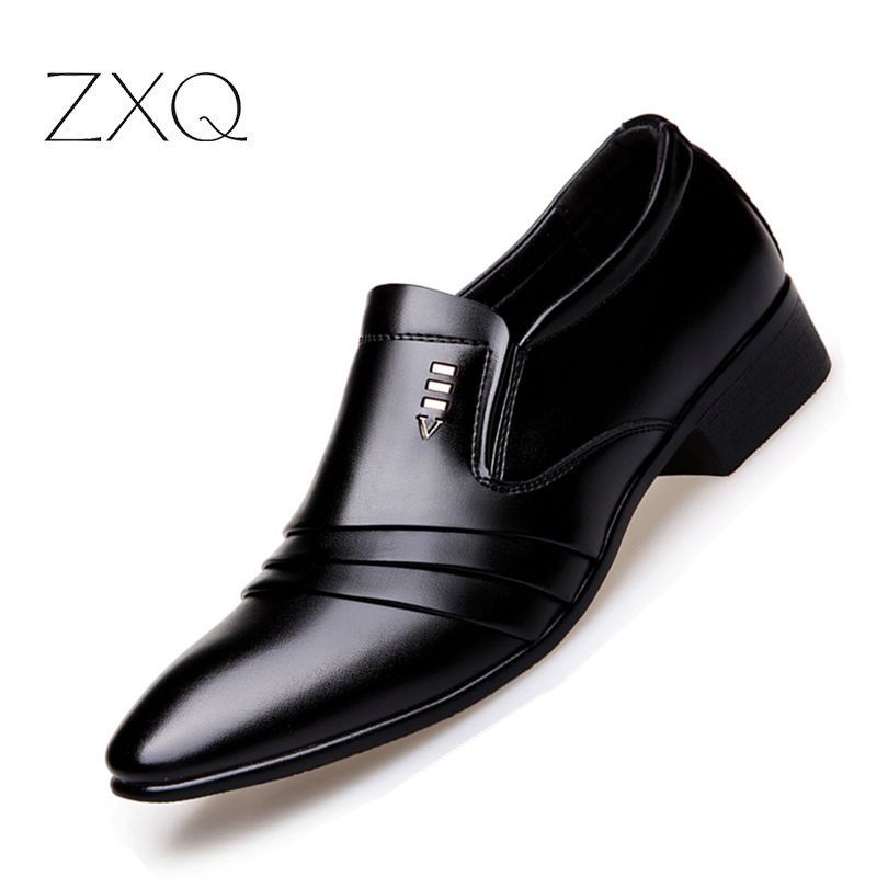 b5f5d2164954 Luxury Brand PU Leather Fashion Men Business Dress Loafers Pointy Black  Shoes Oxford Breathable Formal Wedding Shoes