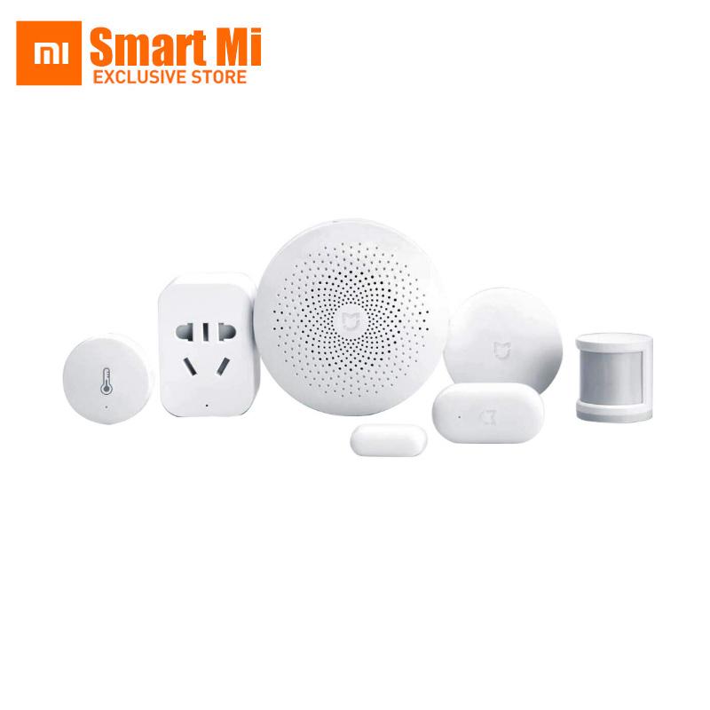 Prix pour D'origine xiaomi mijia smart home kit passerelle porte fenêtre capteur corps humain capteur sans fil commutateur multifonctions ensembles intelligents