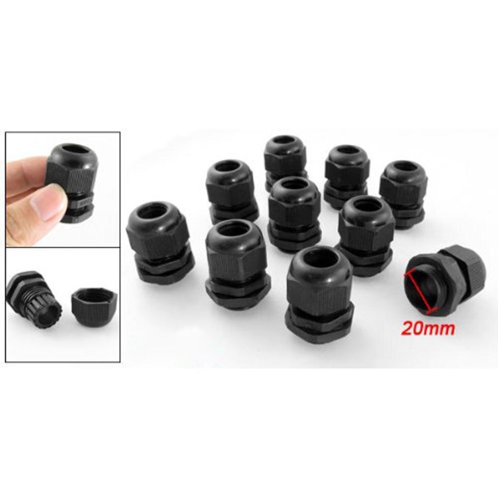 Горячие 10 шт черные пластиковые Водонепроницаемые кабельные сальники разъемы M20 x 1,5