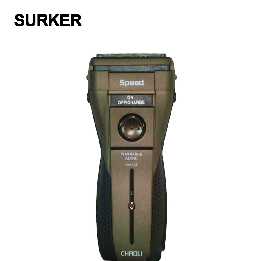 SURKER waterproof  reciprocating  floating double cutter head electric shaver men beard sideburn trimmer rechargeable