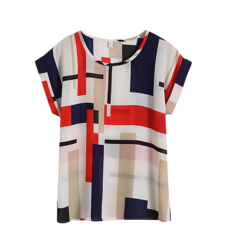 Hot Summer Women's Casual   Blouse     Shirt   Floral Chiffon Print O Neck Short Sleeve Lady's Top Loose Blusas L-4XL