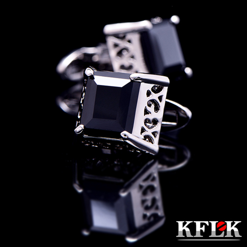 KFLK jewelry 2018 shirt cufflinks for mens Brand cuff buttons Atmosphere cuff links Black gemelos High Quality Retro abotoaduras spade ace pattern electroplating brass cuff links buttons silver black pair